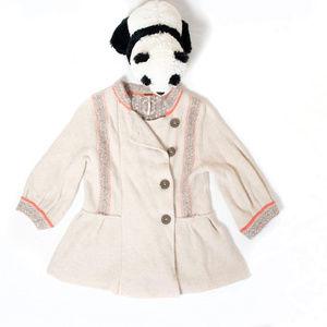 Beige wool Free People cutoff cardigan